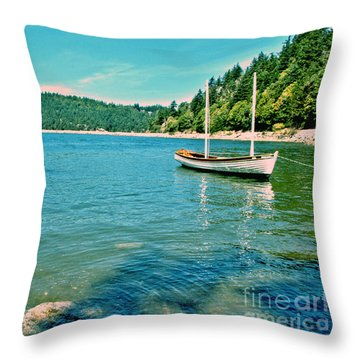 Anchored In Bay Throw Pillow by Michelle Joseph-Long