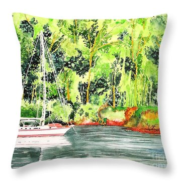 Throw Pillow featuring the painting Anchored by Tom Riggs