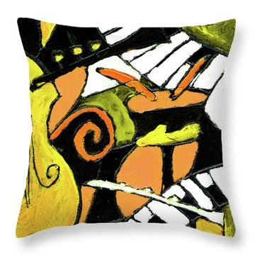 And All That Jazz Orange Throw Pillow by Wayne Potrafka