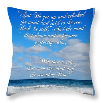 And He Said To The Sea - Hush Throw Pillow by Linda Mesibov