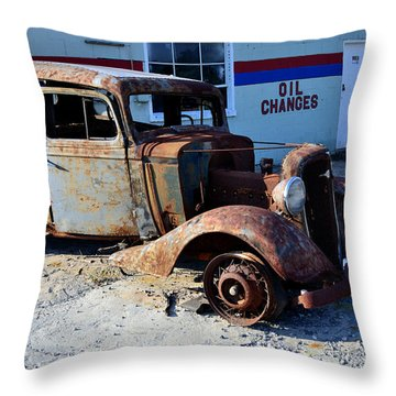 Throw Pillow featuring the photograph ...and Rotate The Tires by Larry Bishop