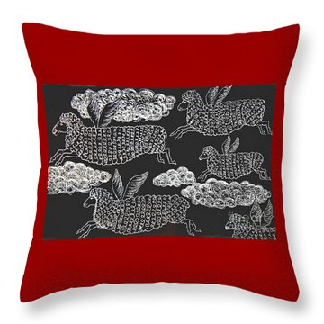 Throw Pillow featuring the drawing And Sheep Can Fly by Nareeta Martin