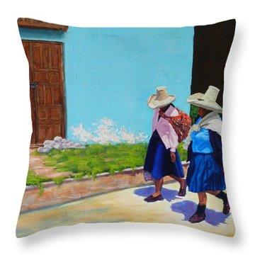 Andean Ladies, Peru Impression Throw Pillow