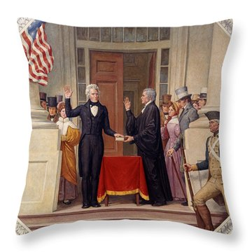 Throw Pillow featuring the photograph Andrew Jackson At The First Capitol Inauguration - C 1829 by International  Images