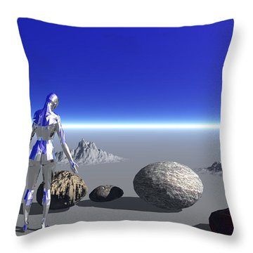 Android On The Blue Planet Throw Pillow