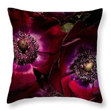 Anemones Throw Pillow by Ann Garrett