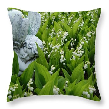 Angel In The Lilies Throw Pillow by Steven Clipperton