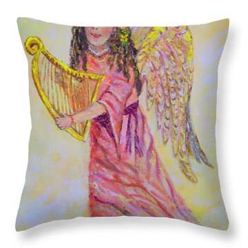 Throw Pillow featuring the painting Angel by Lou Ann Bagnall