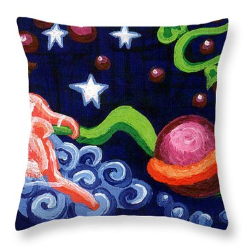 Angel Spinning Saturn Throw Pillow by Genevieve Esson