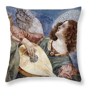 Angel With A Lute Throw Pillow by Granger