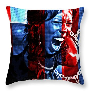 Throw Pillow featuring the photograph Anger In Red And Blue by Alice Gipson