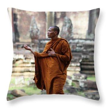 Angkor Wat Monk Throw Pillow by Nola Lee Kelsey
