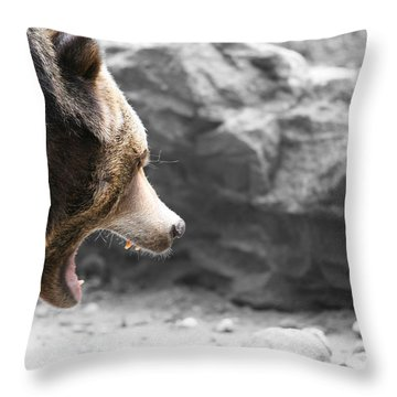 Angry Grizz Throw Pillow by Karol Livote