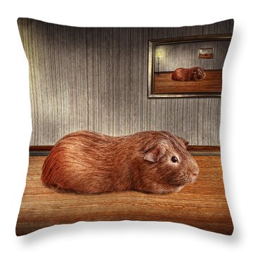 Animal - The Guinea Pig Throw Pillow by Mike Savad