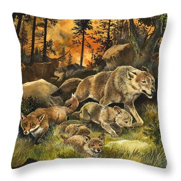 Animals United In Terror As They Flee From A Forest Fire Throw Pillow by G W Backhouse