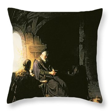 Anna And The Blind Tobit Throw Pillow by Rembrandt Harmensz van Rijn