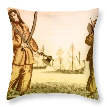 Anne Bonny And Mary Read, 18th Century Throw Pillow by Photo Researchers