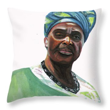 Anne Marie Nzie Throw Pillow by Emmanuel Baliyanga