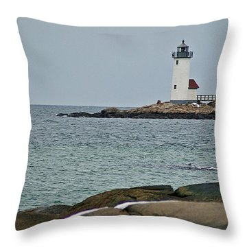 Annisquam Lighthouse Throw Pillow by Joe Faherty