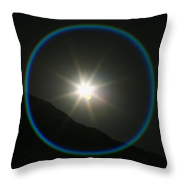 Throw Pillow featuring the photograph Annular Solar Eclipse - Blue Ring At Vasquez Rocks by Lon Casler Bixby