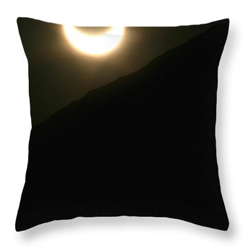 Throw Pillow featuring the photograph Annular Solar Eclipse At Sunset Number 1 by Lon Casler Bixby