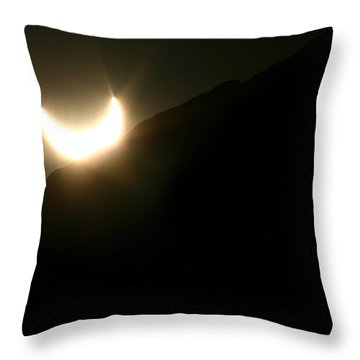 Throw Pillow featuring the photograph Annular Solar Eclipse At Sunset Number 2 by Lon Casler Bixby