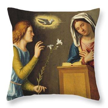 Annunciation To The Virgin Throw Pillow by Giovanni Battista Cima da Conegliano