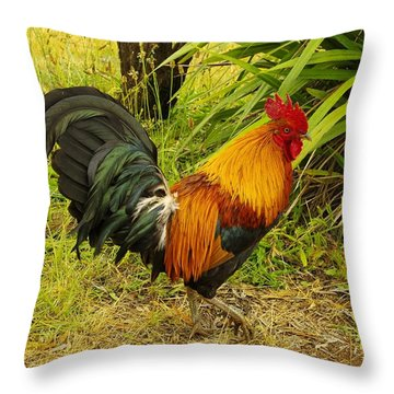 Another Rooster Throw Pillow by John  Greaves