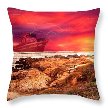 Anthony Boy Waiting Out The Storm Throw Pillow by Joyce Dickens