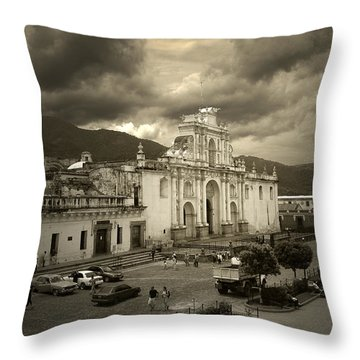 Antigua Cathedral Throw Pillow by Tom Bell