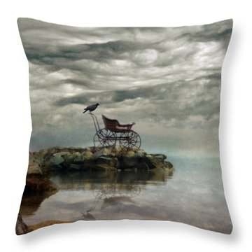 Antique Baby Buggy By The Sea Throw Pillow by Jill Battaglia