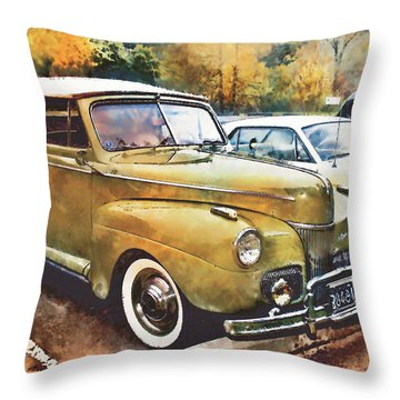 Throw Pillow featuring the digital art Antique Car  by Mary Almond