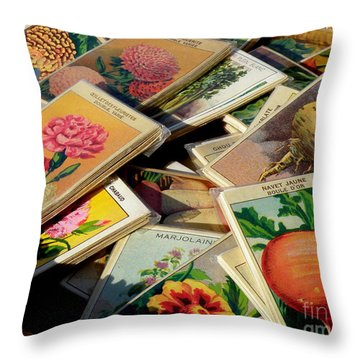 Antique French Seed Packs Throw Pillow