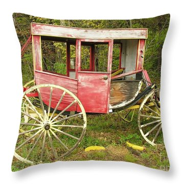 Throw Pillow featuring the photograph Old Horse Drawn Carriage by Sherman Perry