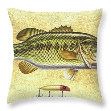 Antique Lure And Bass Throw Pillow