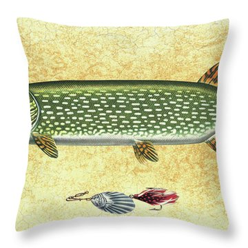 Antique Lure And Pike Throw Pillow by JQ Licensing