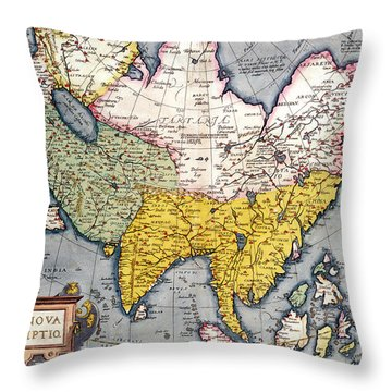 Antique Map Of Asia Throw Pillow by Claes Jansz