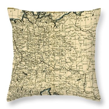 Antique Map Of Germany Bohemia And Hungary With Part Of Poland Throw Pillow by Guillaume Raynal