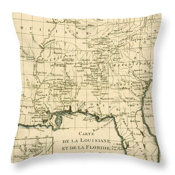 Antique Map Of Louisiana And Florida Throw Pillow by Guillaume Raynal
