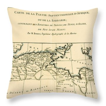 Antique Map Of North Africa Throw Pillow by Guillaume Raynal