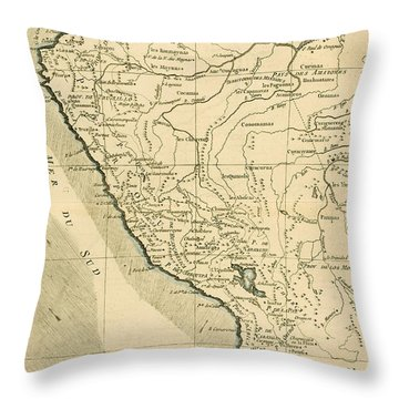 Antique Map Of Peru Throw Pillow by Guillaume Raynal