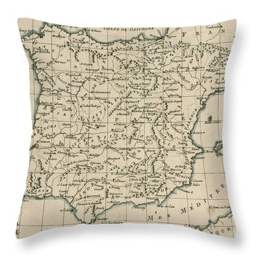 Antique Map Of Spain Throw Pillow by Guillaume Raynal