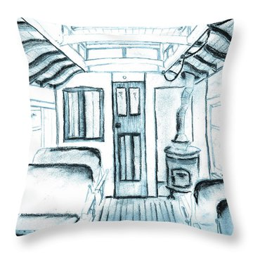 Throw Pillow featuring the drawing Antique Passenger Car by Shannon Harrington