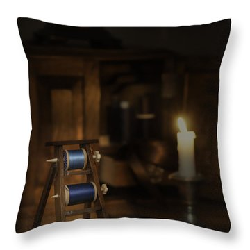 Antique Sewing Items Throw Pillow by Amanda Elwell