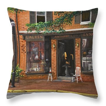 Antique Shop Greenwich Vlg Throw Pillow by Stuart B Yaeger