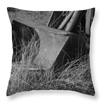 Throw Pillow featuring the photograph Antique Tractor Bucket In Black And White by Jennifer Ancker