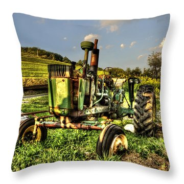 Antique Tractor Throw Pillow by Dan Friend
