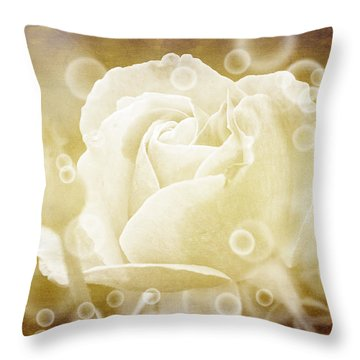 Throw Pillow featuring the photograph Antiqued Rose And Bubbles by Janice Adomeit