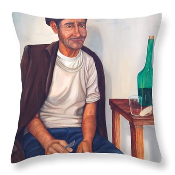 Throw Pillow featuring the painting Antonio by AnnaJo Vahle