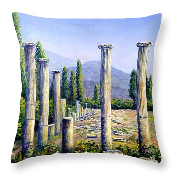 Throw Pillow featuring the painting Aphrodesias Ruins by Lou Ann Bagnall